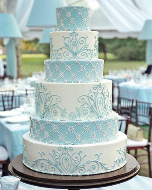Bolo de casamento azul2