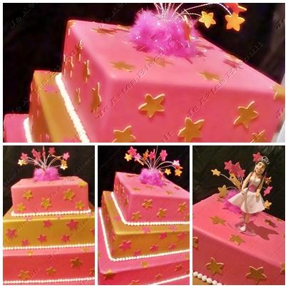 bolo 15 anos rosa