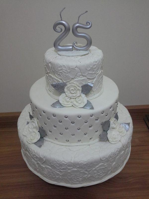 bolo 25 anos casamento