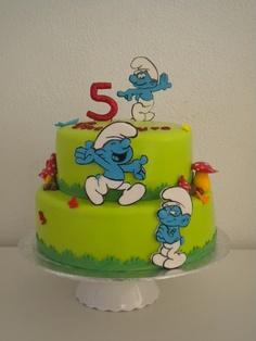 bolo aniversario smurfs