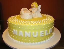 bolo batizado amarelo