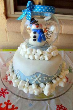 bolo boneco de neve