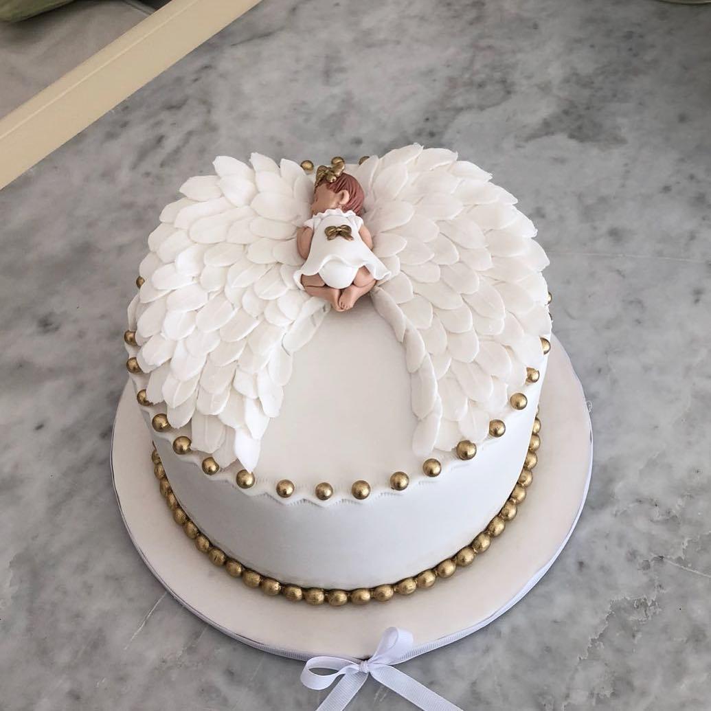 bolo branco festa batizado