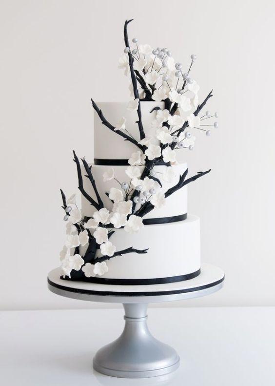 bolo casamento noiva preto branco 4