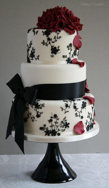 bolo casamento noiva preto branco 9
