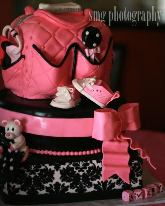 bolo cha bebe menina rosa preto