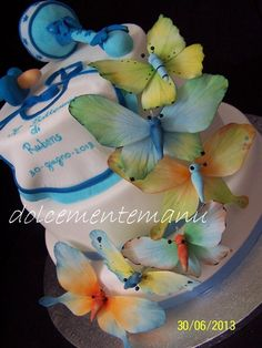 bolo cha de bebe com borboletas