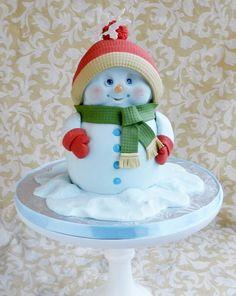 bolo de boneco de neve