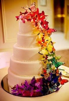 bolo de casamento com borboletas