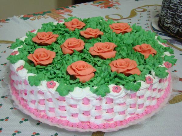 bolo de cesta de flores