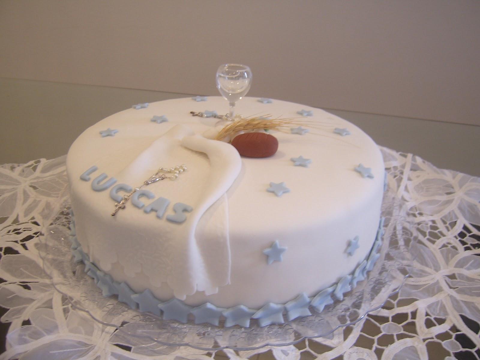 bolo decorado 1 comunhao redondo