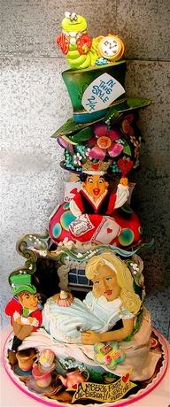 bolo decorado Alice no pais das maravilhas