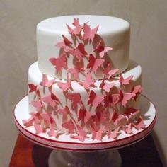 bolo decorado borboletas rosa