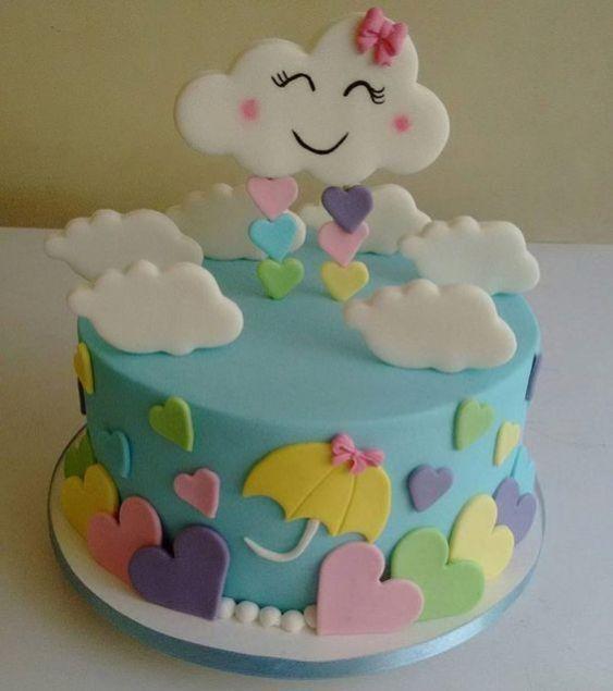 bolo decorado chuva amor 1