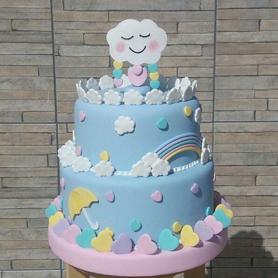 bolo decorado chuva amor 2