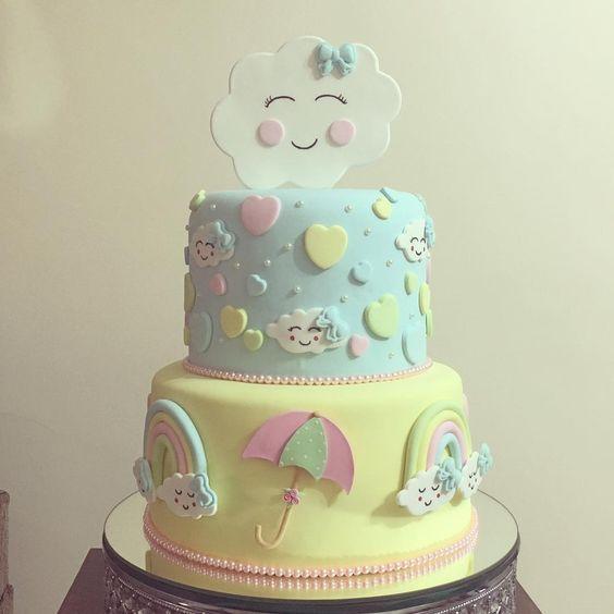 bolo decorado chuva amor 3