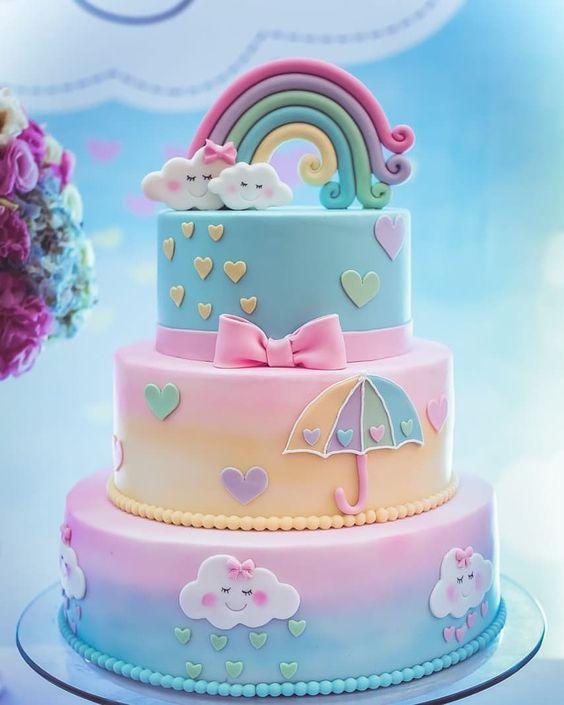 bolo decorado chuva amor