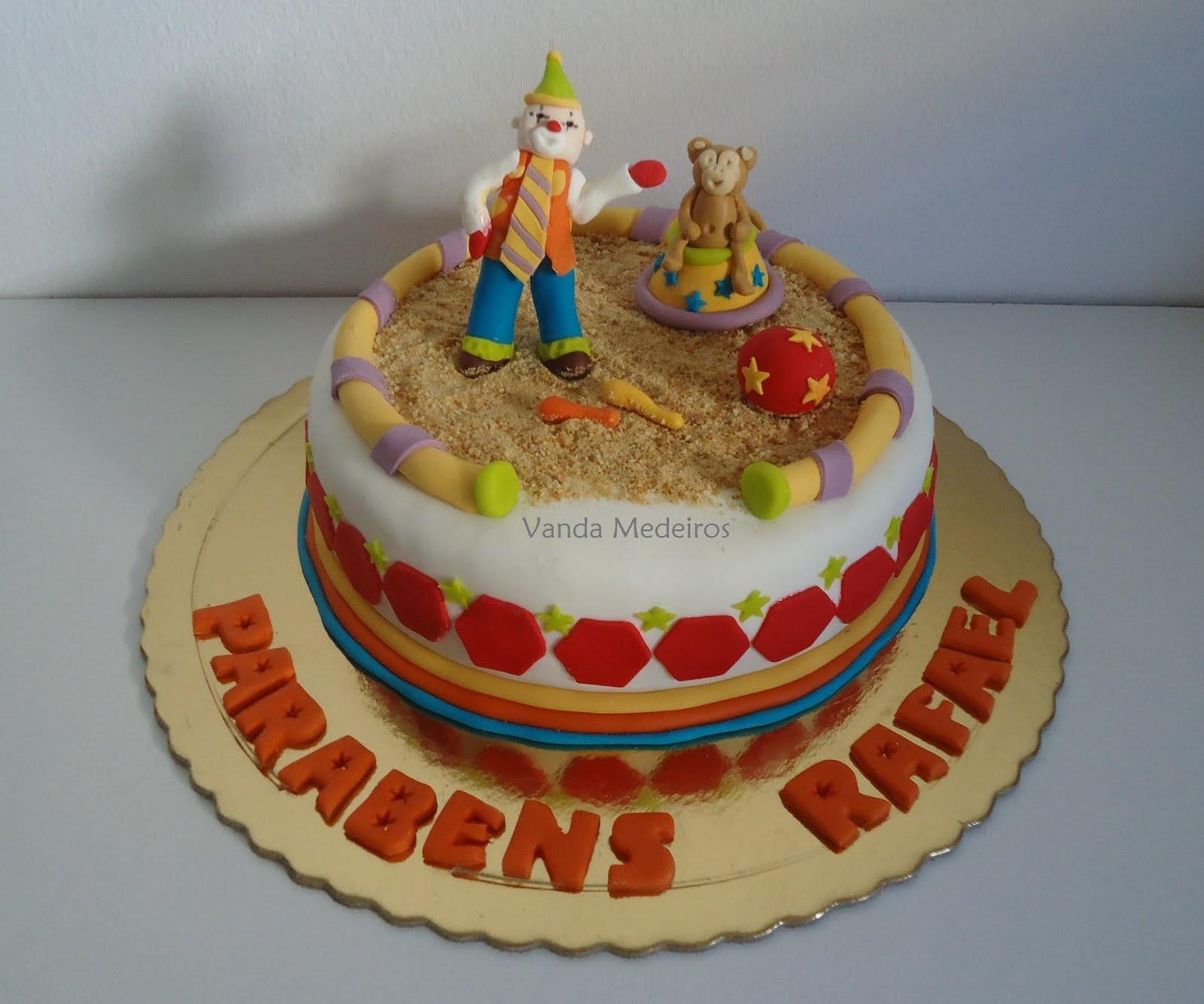 bolo decorado circo palhaco