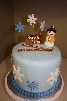 bolo decorado de boneco de neve