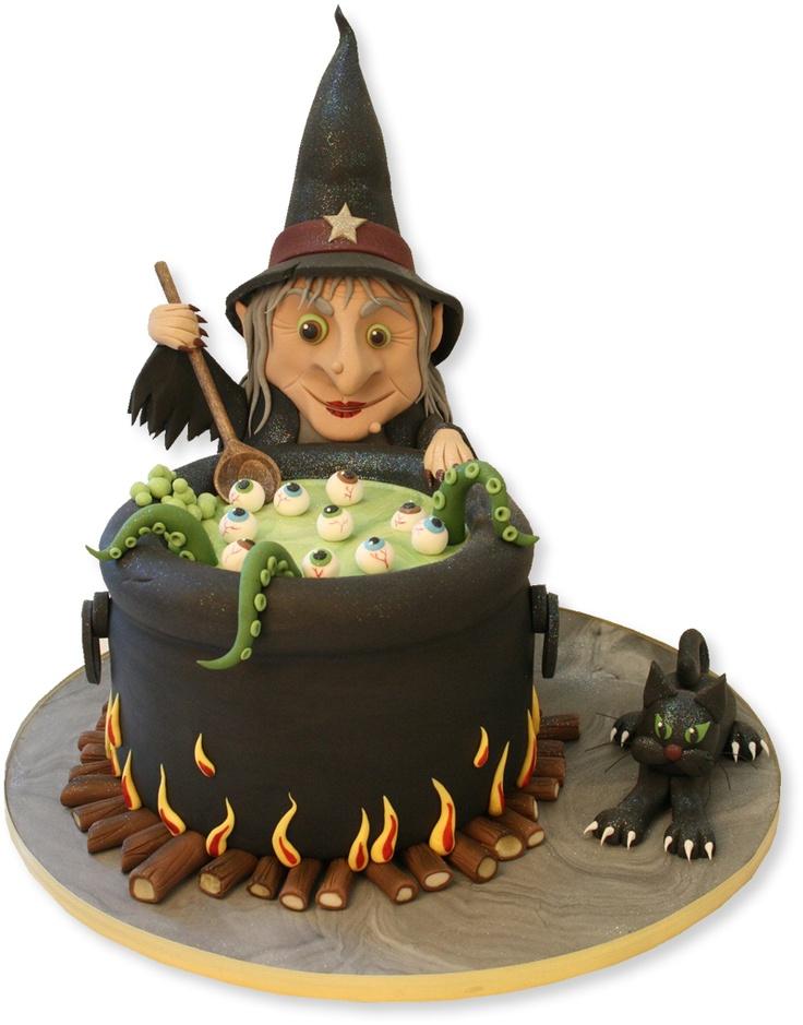 bolo decorado de bruxa