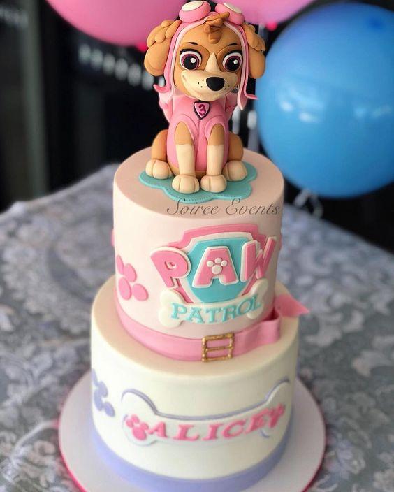 bolo decorado festa Skye Patrulha Canina americana