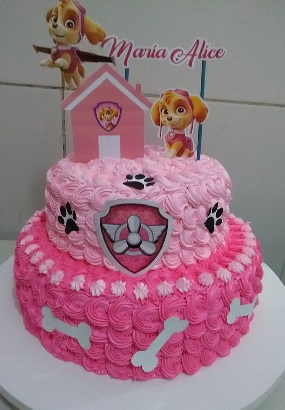 bolo decorado festa Skye Patrulha Canina chantininho
