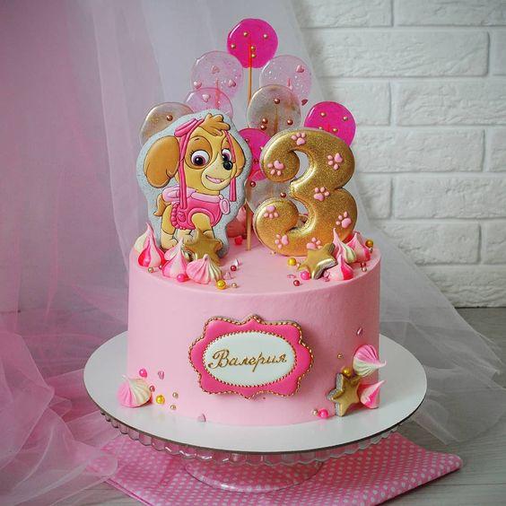 bolo decorado festa Skye Patrulha Canina dourado