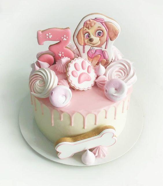 bolo decorado festa Skye Patrulha Canina inspiracao