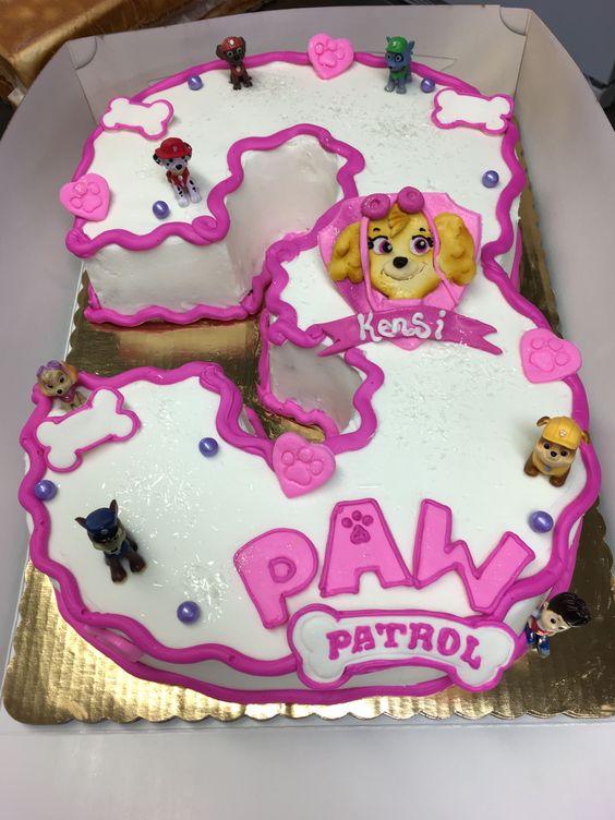 bolo decorado festa Skye Patrulha Canina numero