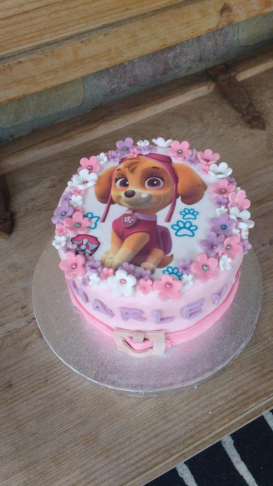 bolo decorado festa Skye Patrulha Canina redondo