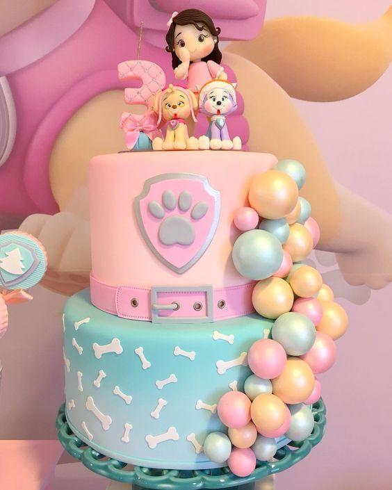 bolo decorado festa Skye Patrulha Canina