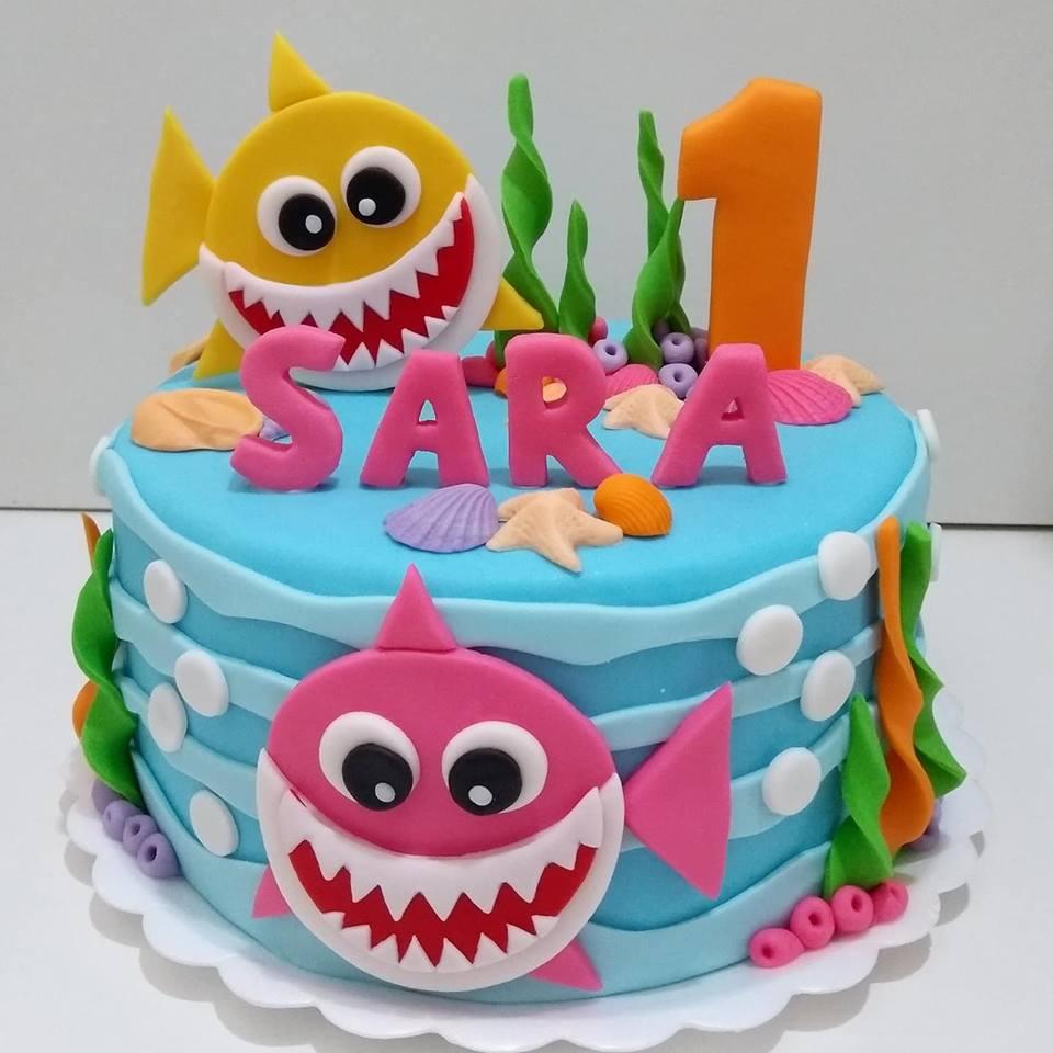 bolo decorado festa baby shark 6
