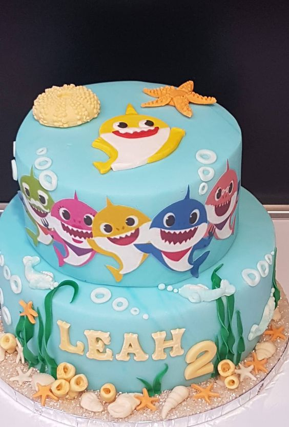 bolo decorado festa baby shark 7