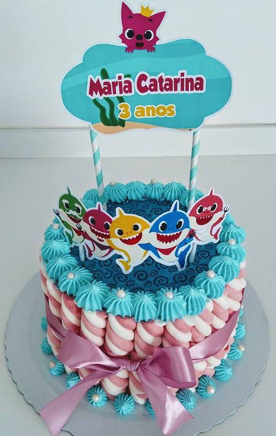 bolo decorado festa baby shark 8