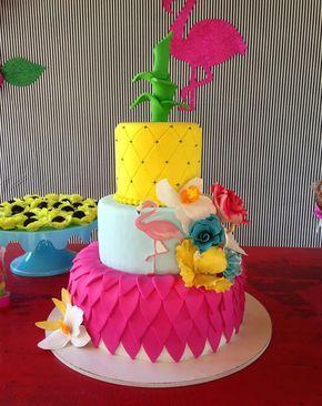 bolo decorado flamingo 1