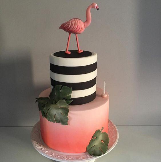 bolo decorado flamingo 14