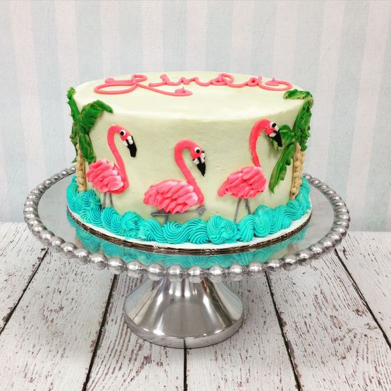 bolo decorado flamingo 17