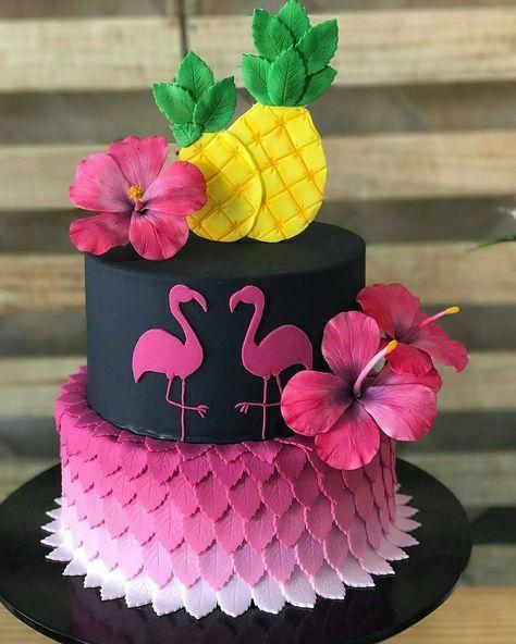 bolo decorado flamingo 19