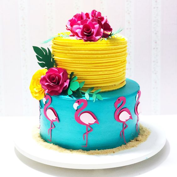 bolo decorado flamingo 2