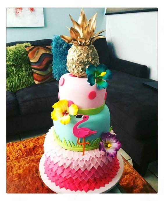 bolo decorado flamingo 3