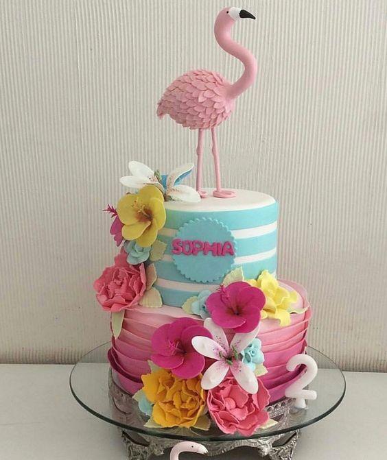 bolo decorado flamingo 6