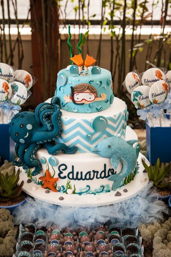 bolo decorado fundo mar 1