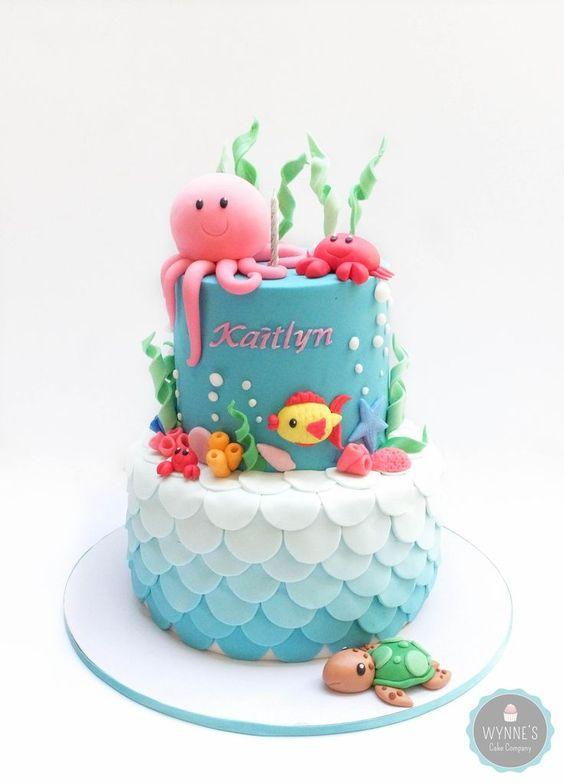 bolo decorado fundo mar 4