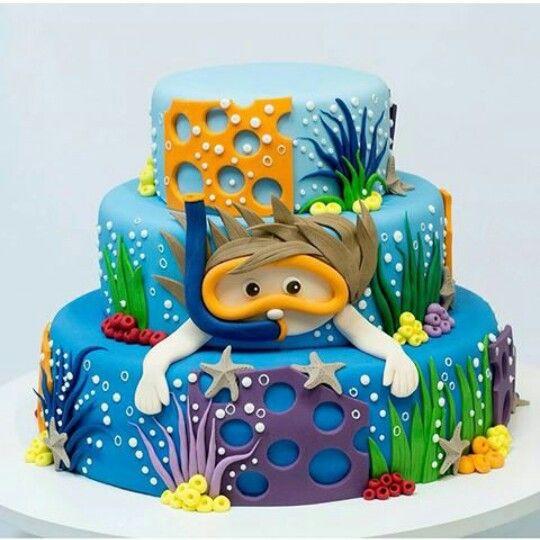 bolo decorado fundo mar 6