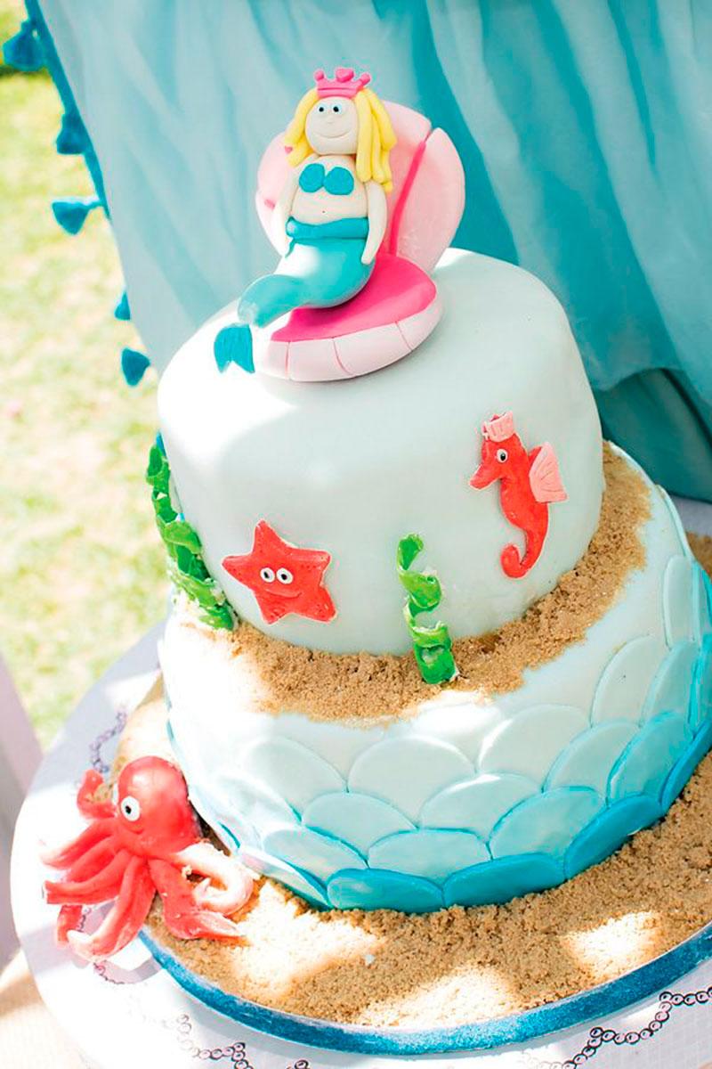 bolo decorado fundo mar sereia