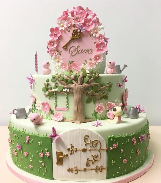 bolo decorado jardim secreto