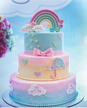 bolo decorado menina chuva amor