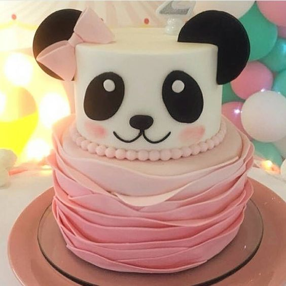 bolo decorado menina panda