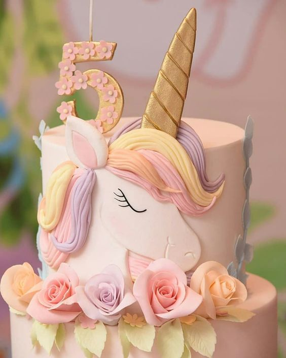 bolo decorado menina unicornio 1