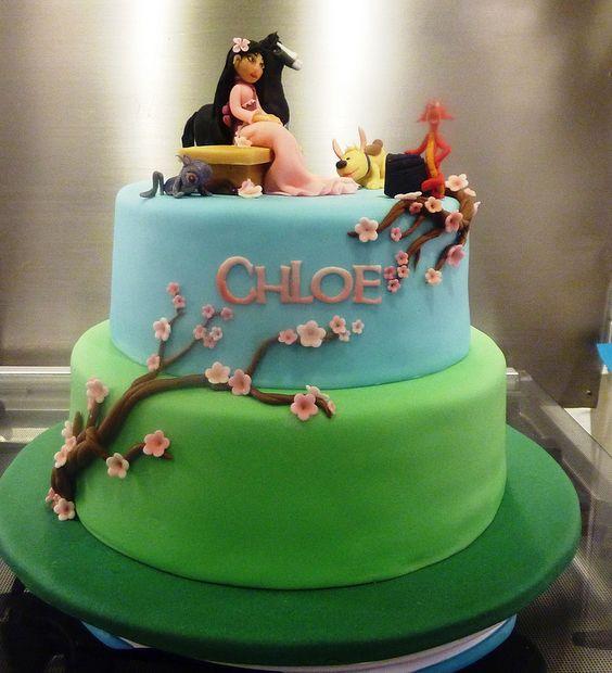 bolo decorado mulan colorido